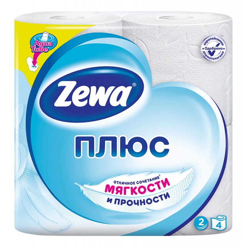 Туалетная бумага ZEWA ПЛЮС двухслойная белая, в упаковке 4 рулона