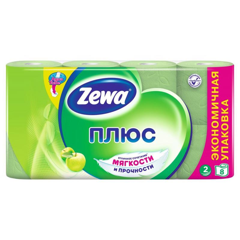 Туалетная бумага ZEWA ПЛЮС с ароматом яблока двухслойная зеленая, в упаковке 8 рулонов