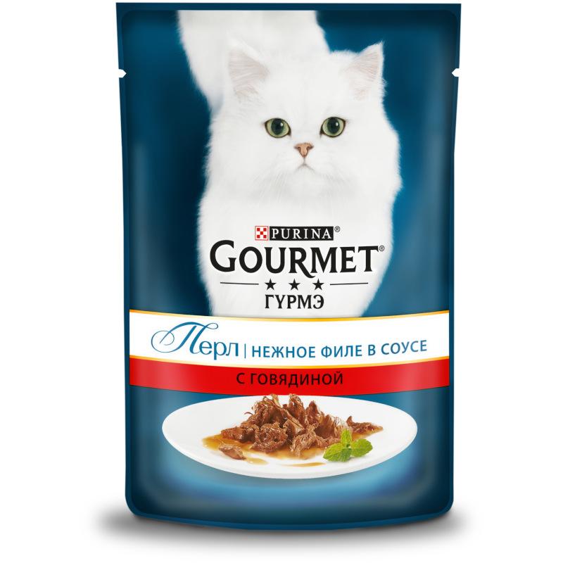 Влажный корм для кошек GOURMET Perle маринад говядина, 85 гр
