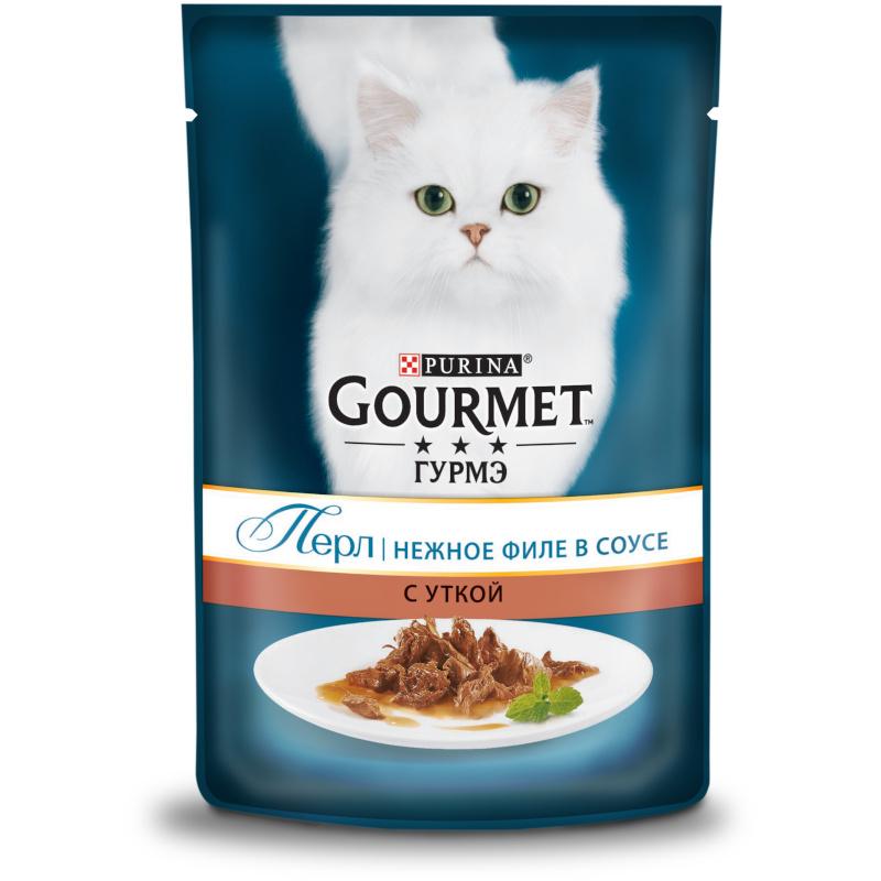 Влажный корм для кошек GOURMET Perle маринад утка, 85 г