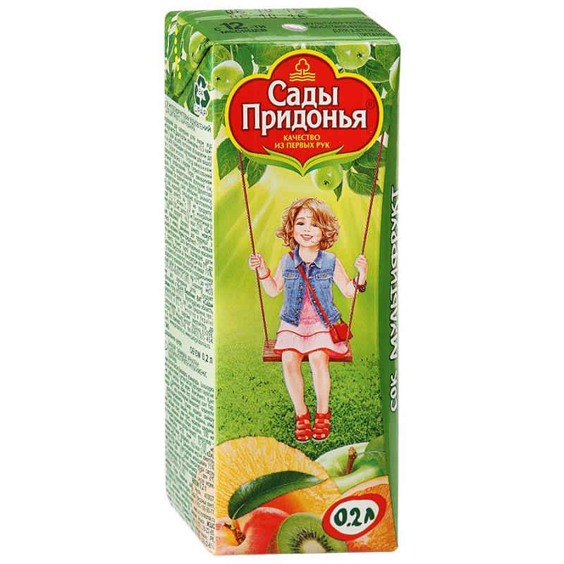 Сок Сады Придонья Мультифруктовый восстановленный неосветленный без сахара для детей с 12 месяцев, 0, 2л