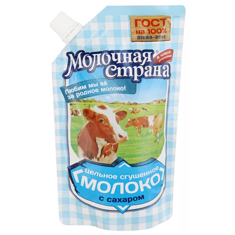 """Молоко цельное сгущенное """"Молочная страна """" массовая доля жира 8, 5% ГОСТ Р 53436-2009Промконсервы, 270гр"""