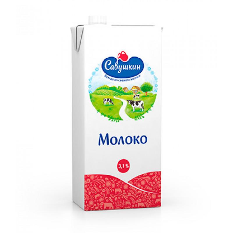 Молоко 3, 1% ультрапастеризованное Савушкин продукт, 1л.