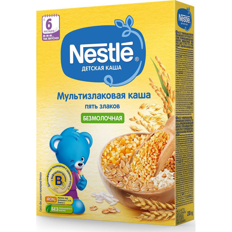 Каша безмолочная Nestle мультизлаковая 5 злаков для детей с 6-ти месяцев, 200 гр