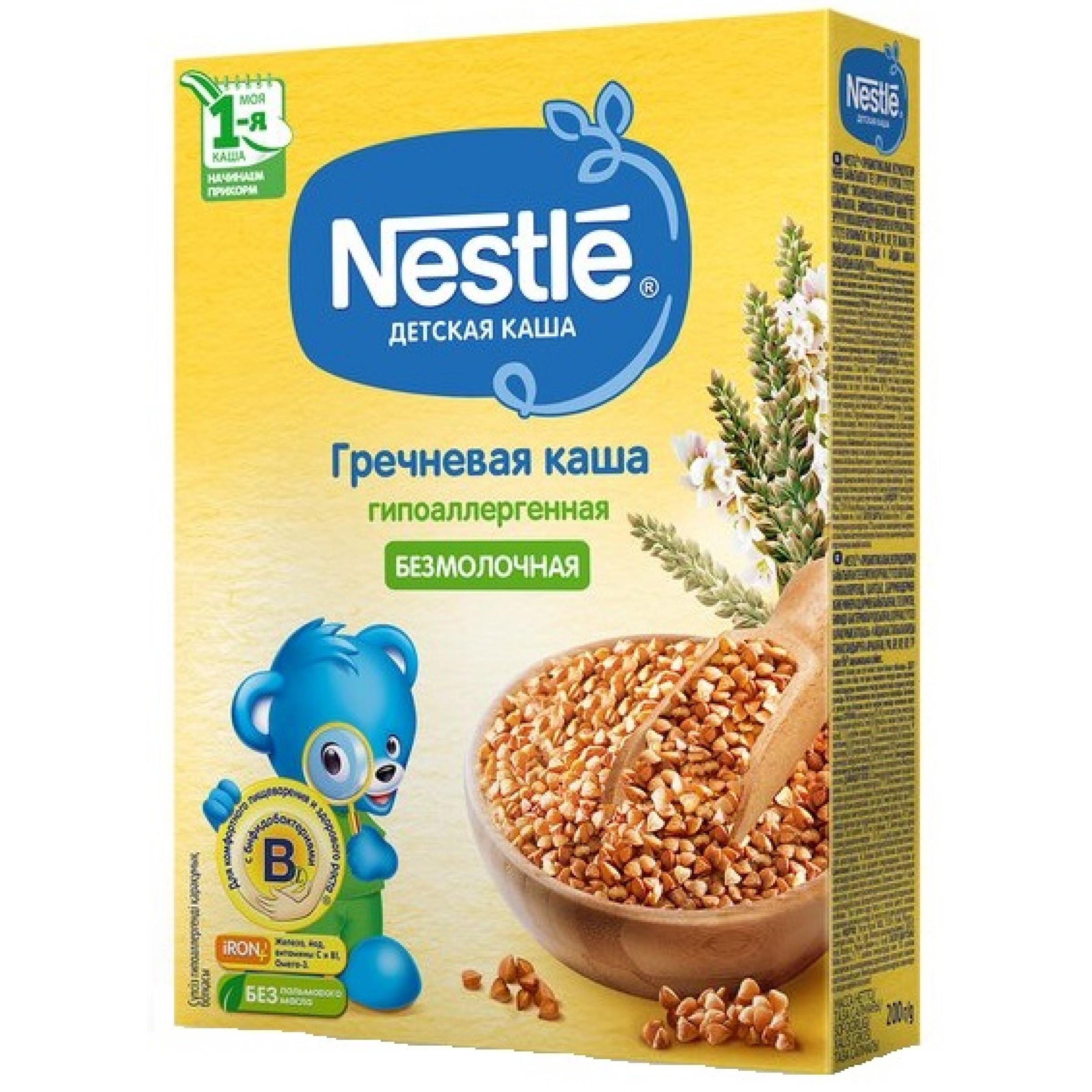 Каша безмолочная Nestle гречневая для детей с 4 месяцев, 200 гр