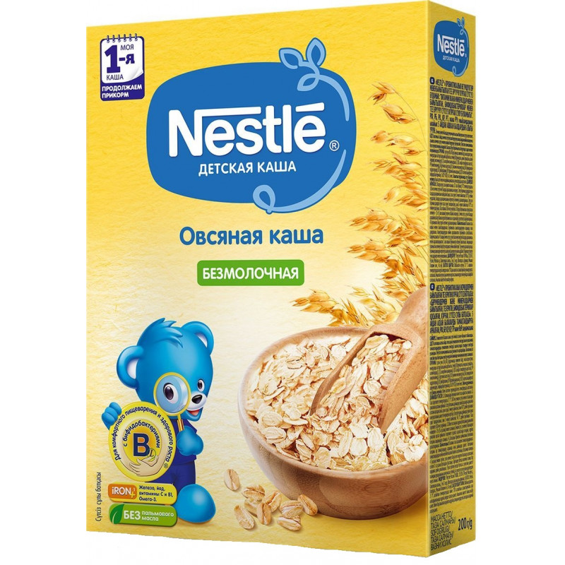 Каша безмолочная Nestle овсяная для детей старше 5 месяцев 1-я ступень, 200 гр