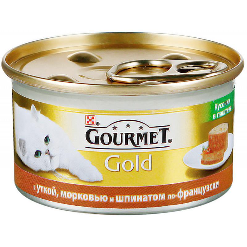 Влажный корм для кошек GOURMET Gold террин (кусочки в паштете) с уткой, морковью и шпинатом по-французски, 85 гр