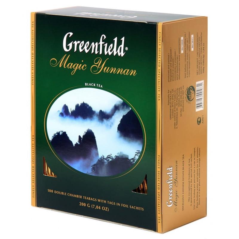 Чай черный Greenfield Magic Yunnan китайский байховый в пакетах, 100пак*2гр