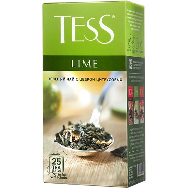 Чай зеленый Tess Lime (Тесс Лайм) итайский байховый чай с цедрой цитрусовых, лепестками цветов и ароматом лайма в пакетах, 25пак*1, 5гр
