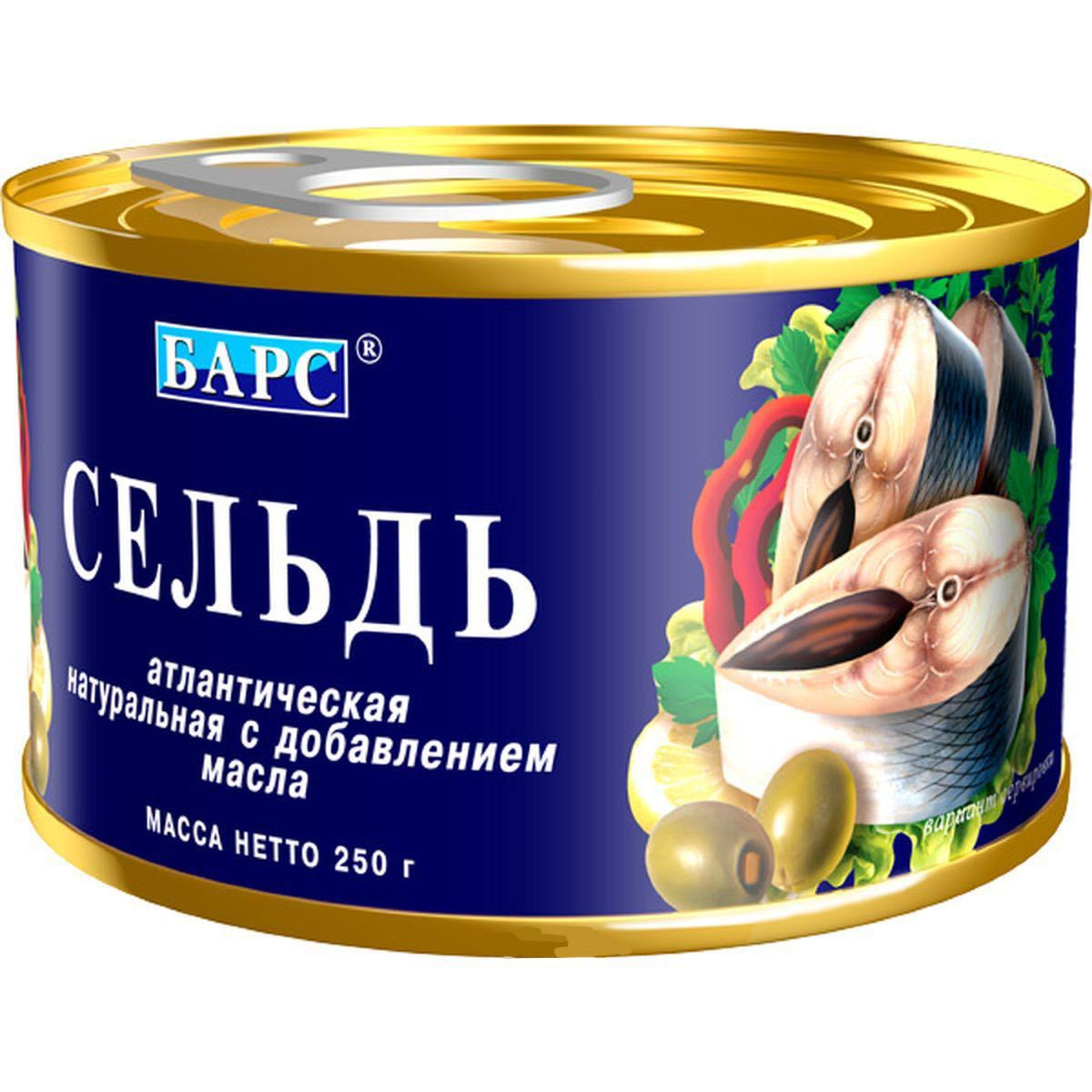 Сельдь натуральная с добавлением масла Барс, 250гр