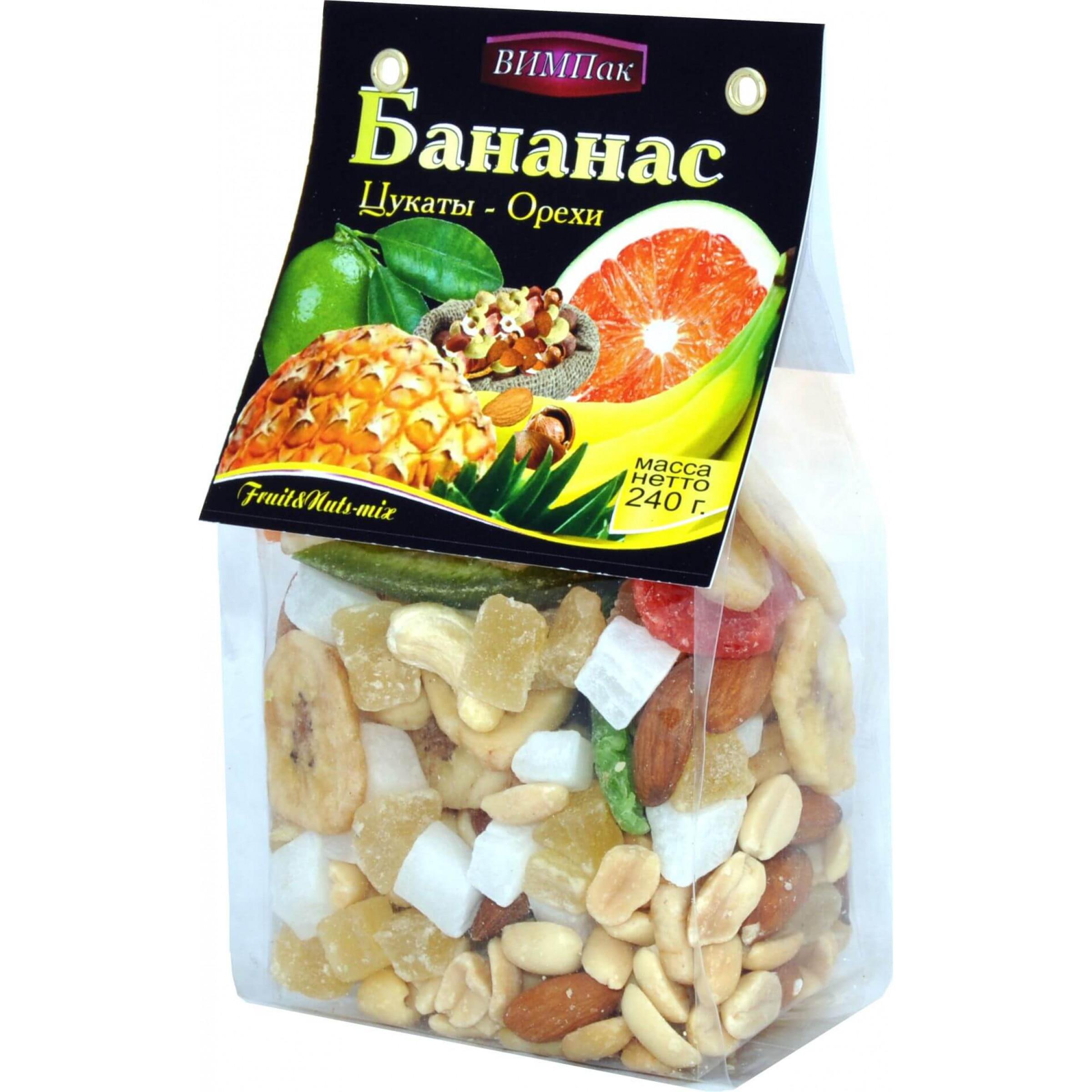 Смесь из сушеных фруктов с орехами ВИМПак (ананас листики, киви, банановые чипсы, кумкват, миндаль, арахис, кешью, фундук ) Автонов, 240гр