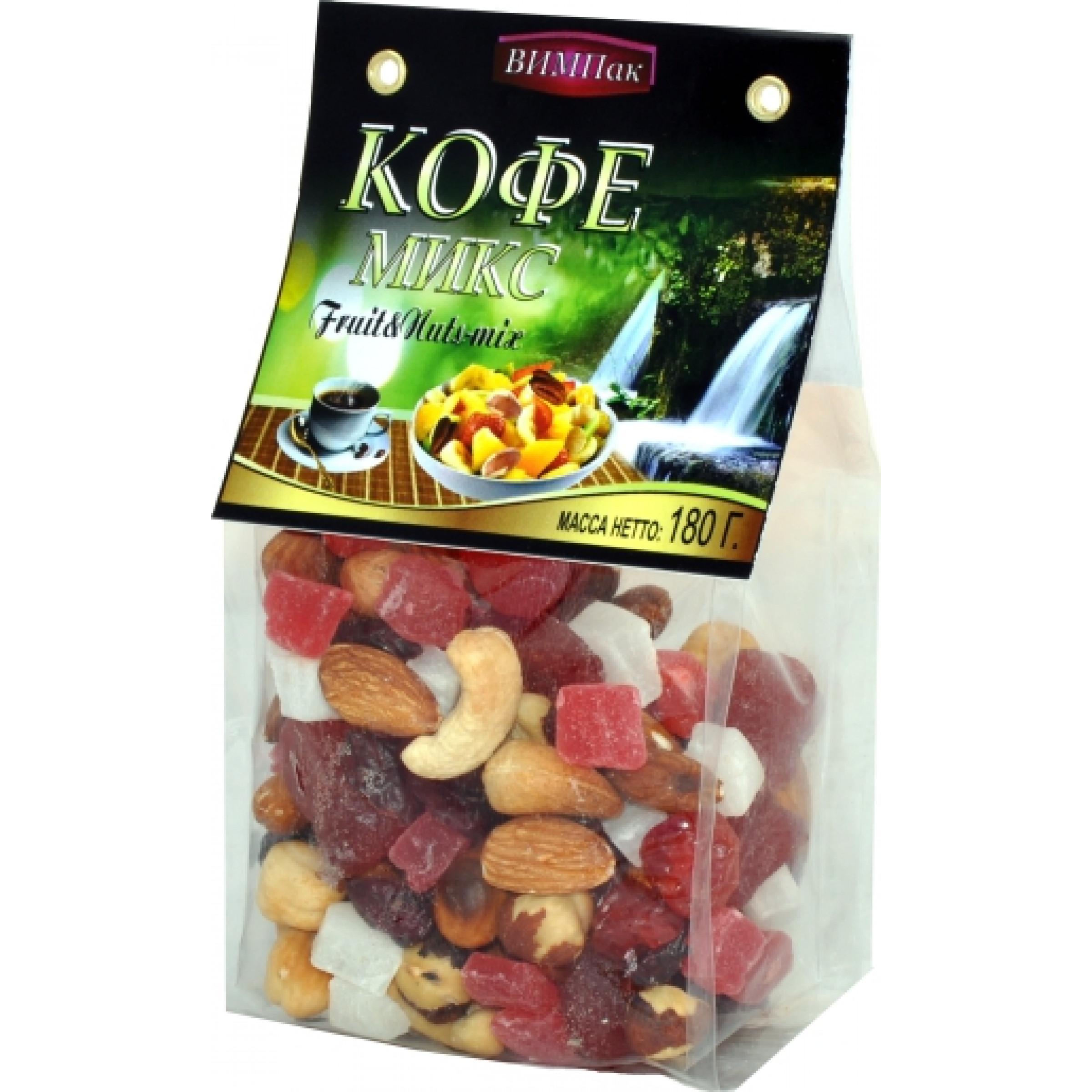 Смесь из сушеных фруктов с орехами Koffi - mix ВИМПак (клюква, вишня, изюм белый, папая, кокос, миндаль жарен.,кешью жарен.,фундук жарен. ) Автонов, 180гр