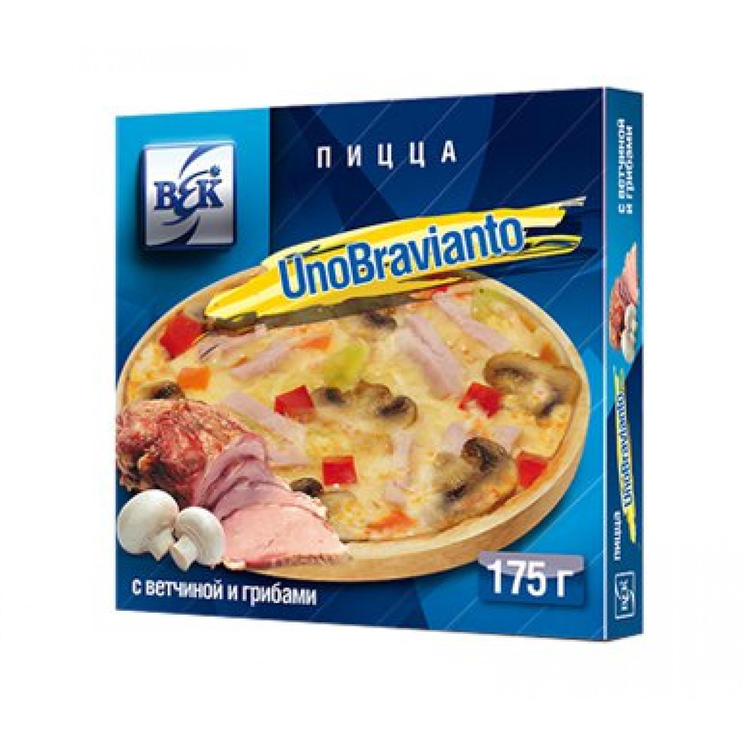 """Пицца """"UnoBravianto"""" с ветчиной и грибами в коробочке, 175гр"""