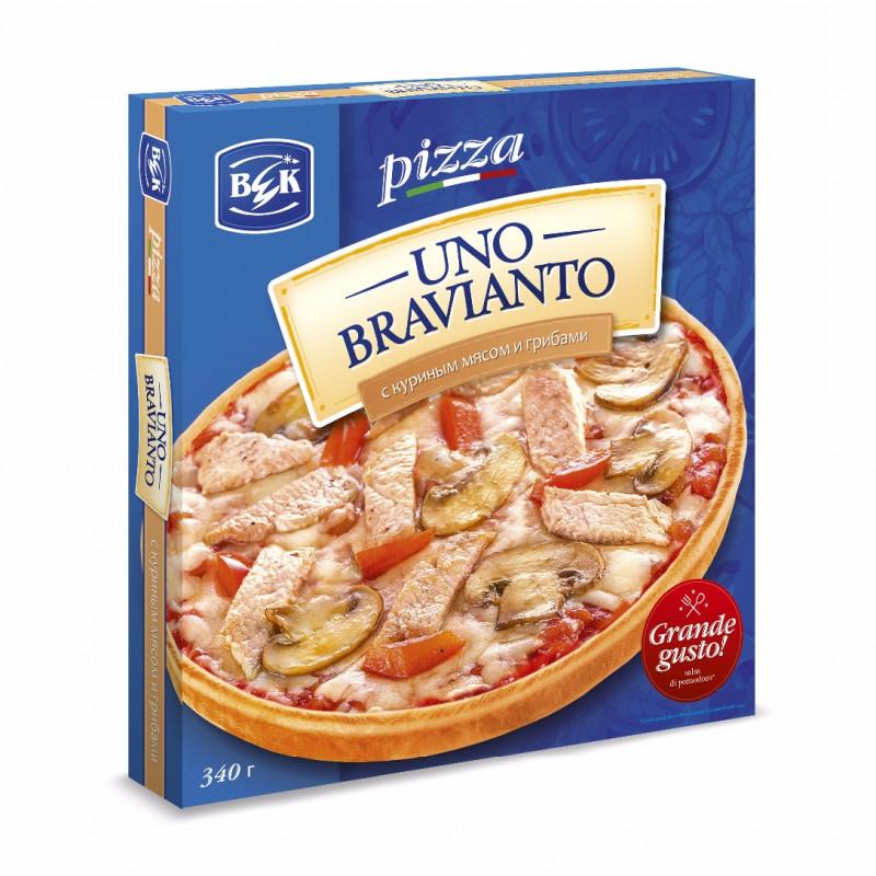 """Пицца """"UnoBravianto"""" с куриным мясом и грибами в коробочке, 175гр"""