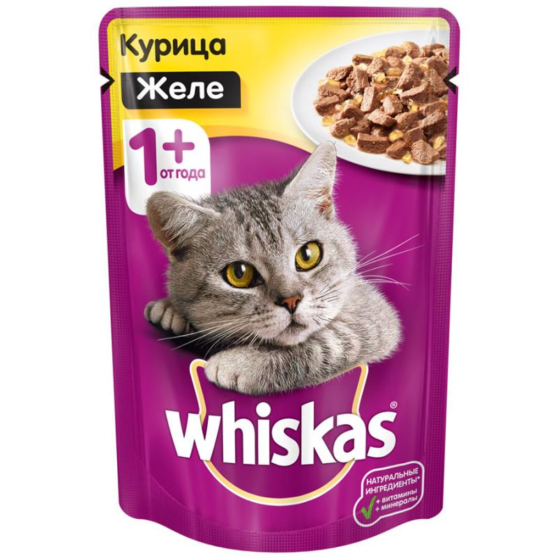 Влажный корм для кошек Whiskas желе с курицей, 85гр