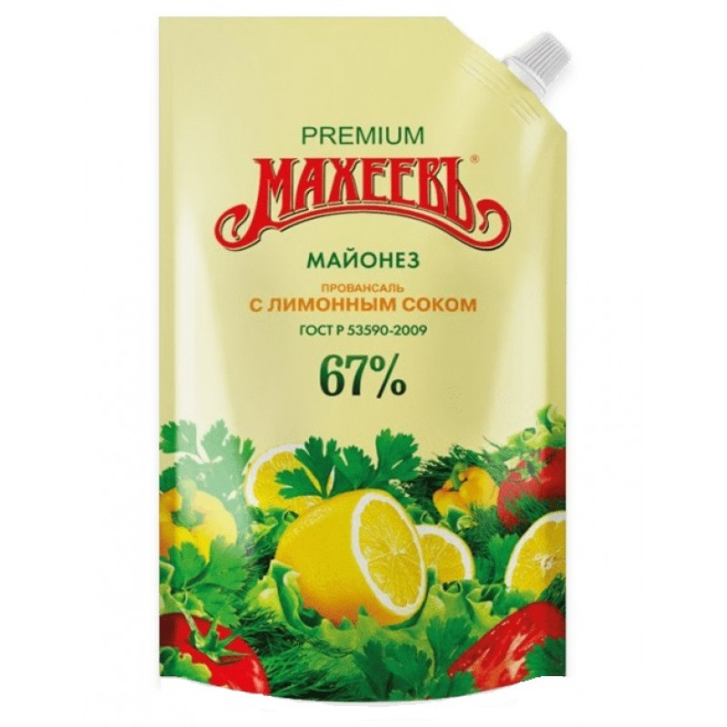 Майонез Махеевъ Провансаль 67% с лимонным соком, 400гр