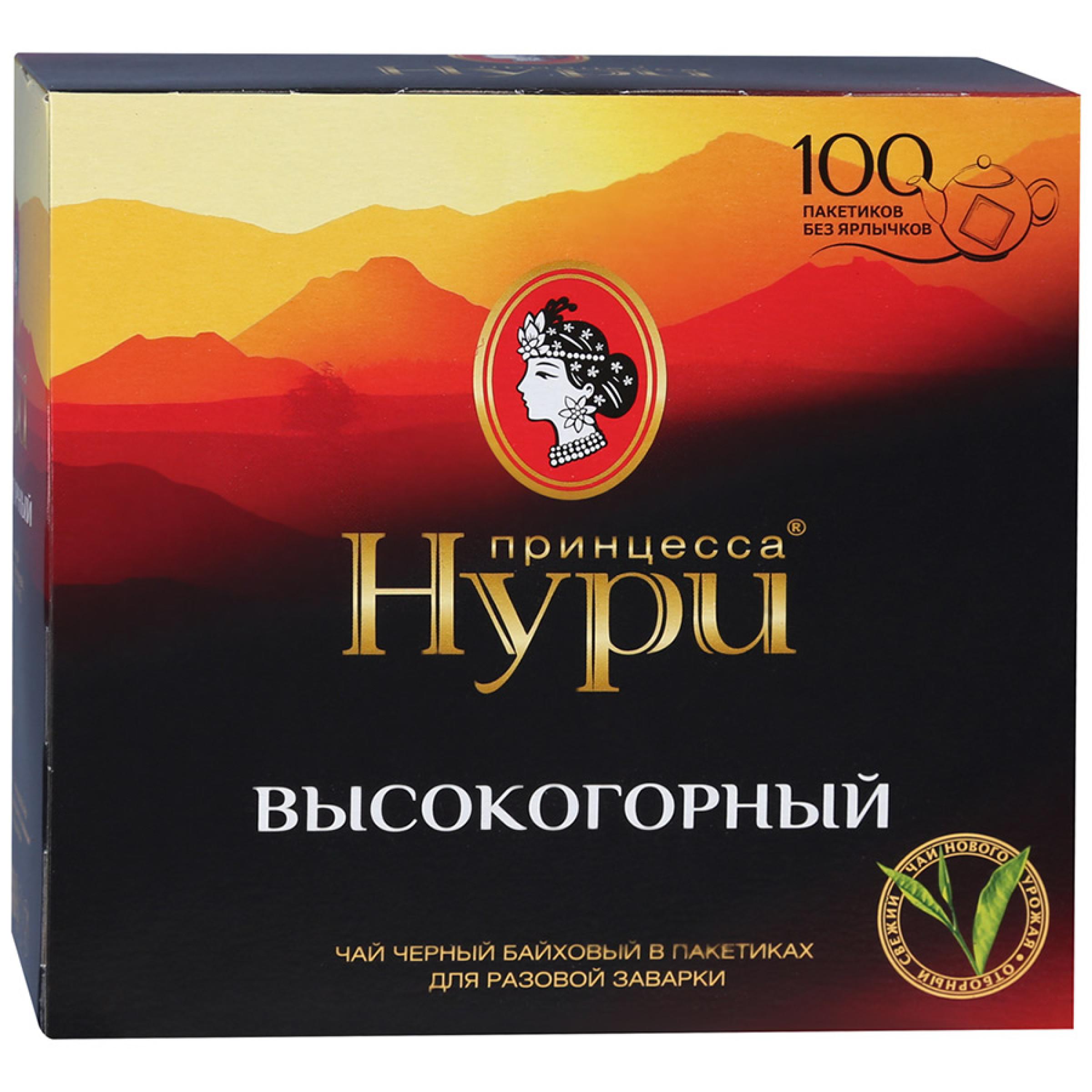 """Чай черный """"Принцесса Нури"""" высокогорный байховый в пакетиках, 100пак*2гр"""