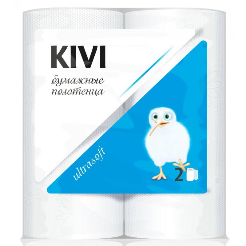 Полотенца бумажные KIVI 2-х слойные,  в упаковке 2 рулона