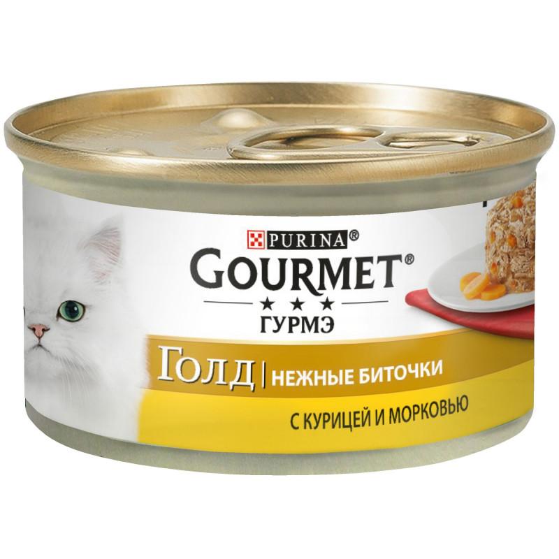 Влажный корм для кошек GOURMET Gold Нежные биточки из курицы и моркови, 85 гр