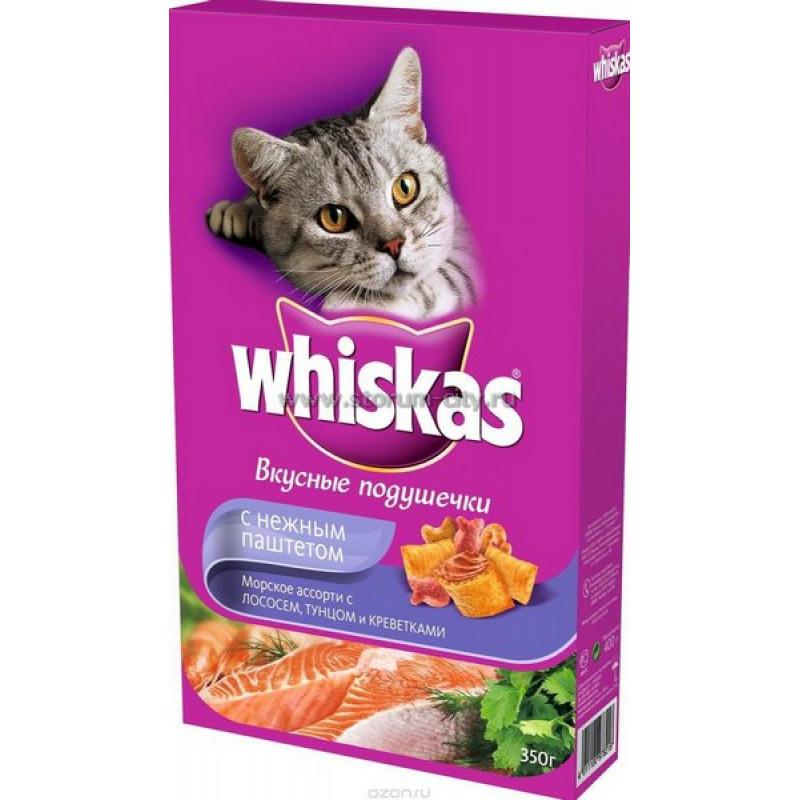 Сухой корм для кошек Whiskas Аппетитное ассорти из рыбы (лосось, тунец, креветки) подушечки с нежным паштетом, 350гр