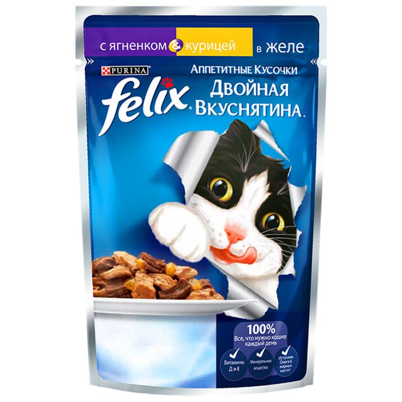 Влажный корм для взрослых кошек FELIX с ягненком в желе и курицей, 85 гр
