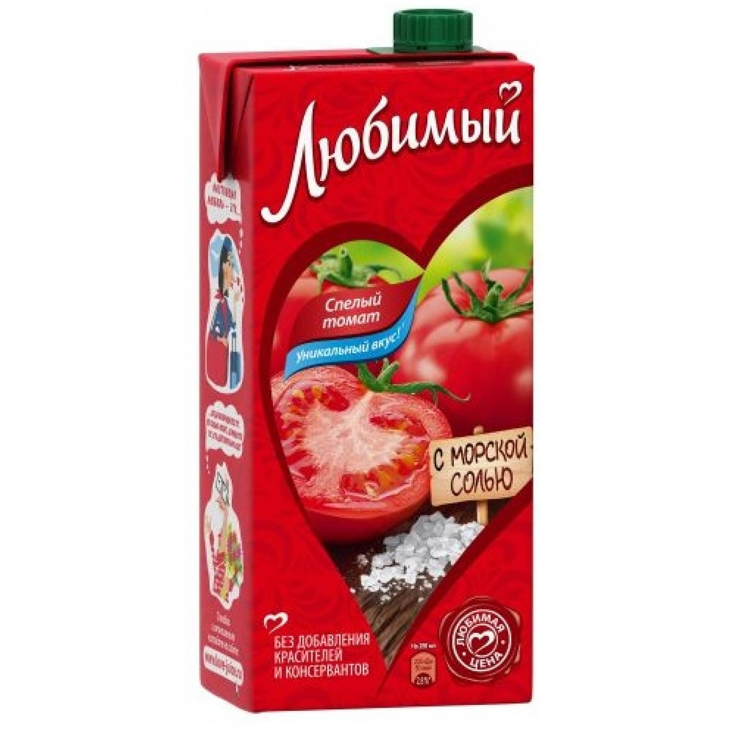 """Нектар томатный с солью с мякотью """"Любимый"""", 0,95 л"""