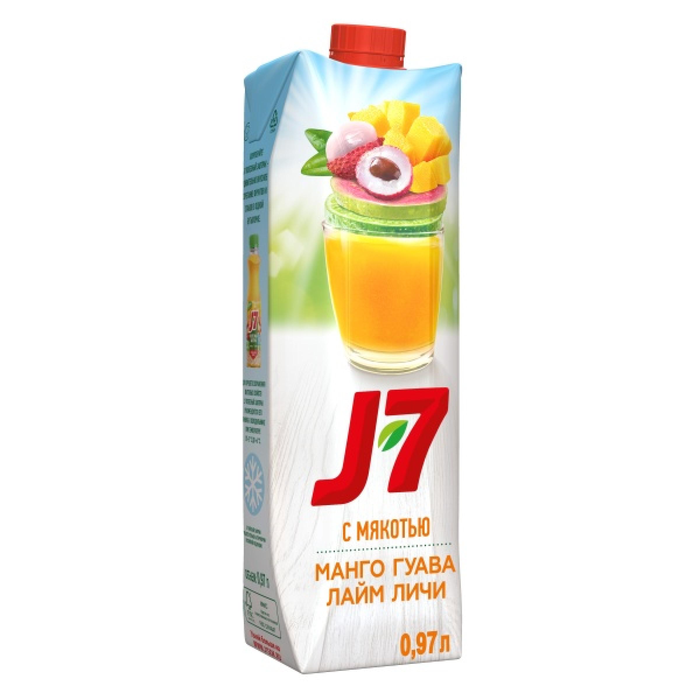 Напиток J7 лайм-личи манго-гуава, 097л
