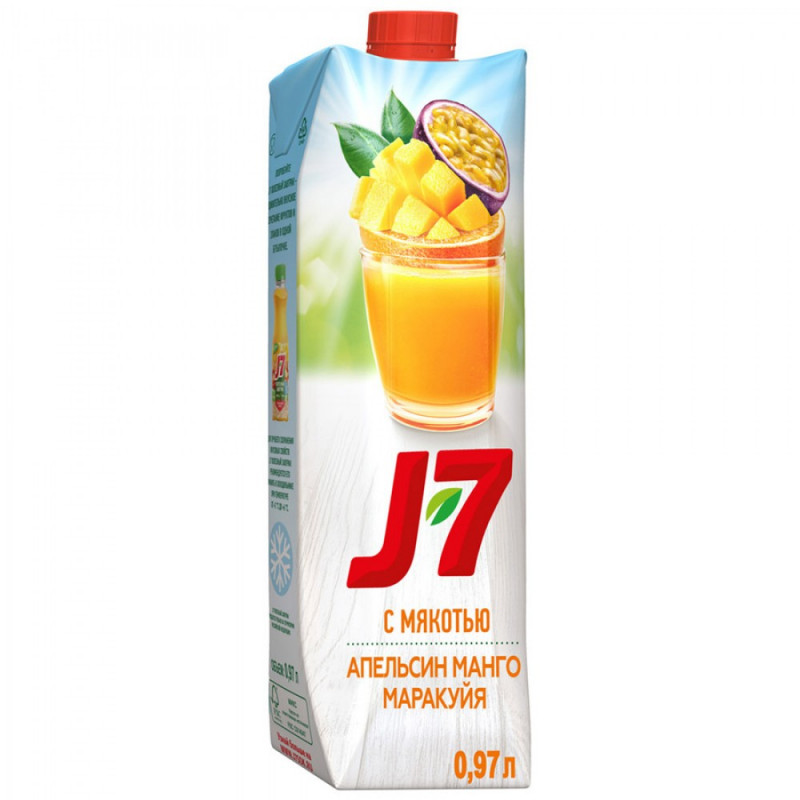 Нектар J7 Апельсин-Манго-Маракуйя с мякотью, 0, 97л
