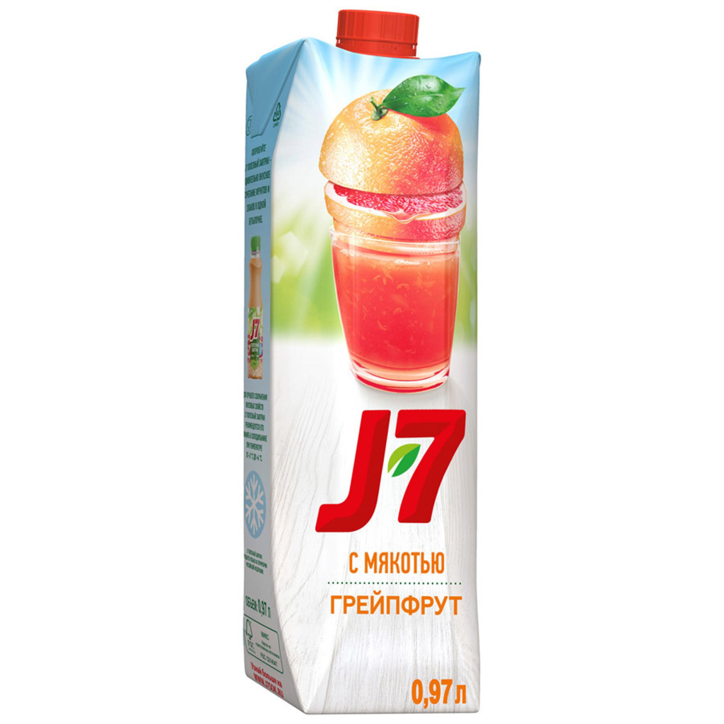 """Нектар """"J7"""" грейпфрутовый с мякотью, 0,97 л"""