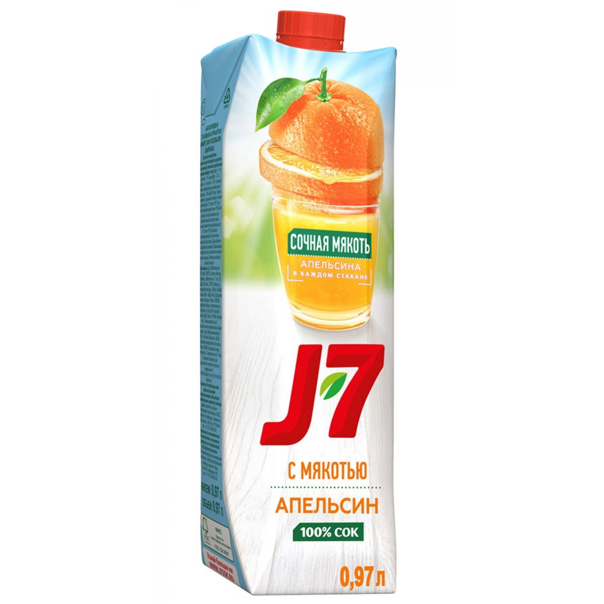 Сок J-7 апельсиновый 100% с мякотью 0, 97л
