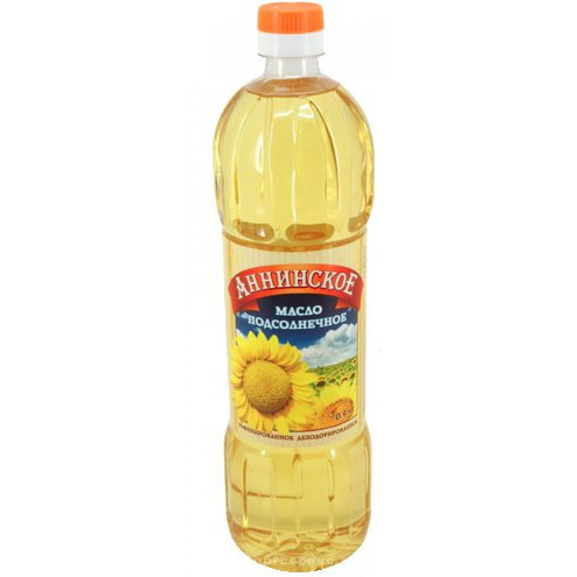 """Масло подсолнечное """"Аннинское"""" рафинированное дезодорированное без запаха 1 сорт, 0, 9л"""