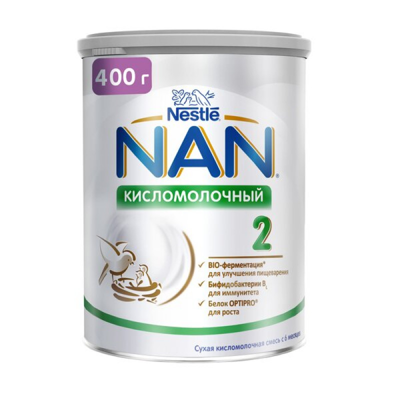 Сухая смесь NAN 2 Nestle кисломочный с бифидобактериями для детей с 6 месяцев, 400 гр