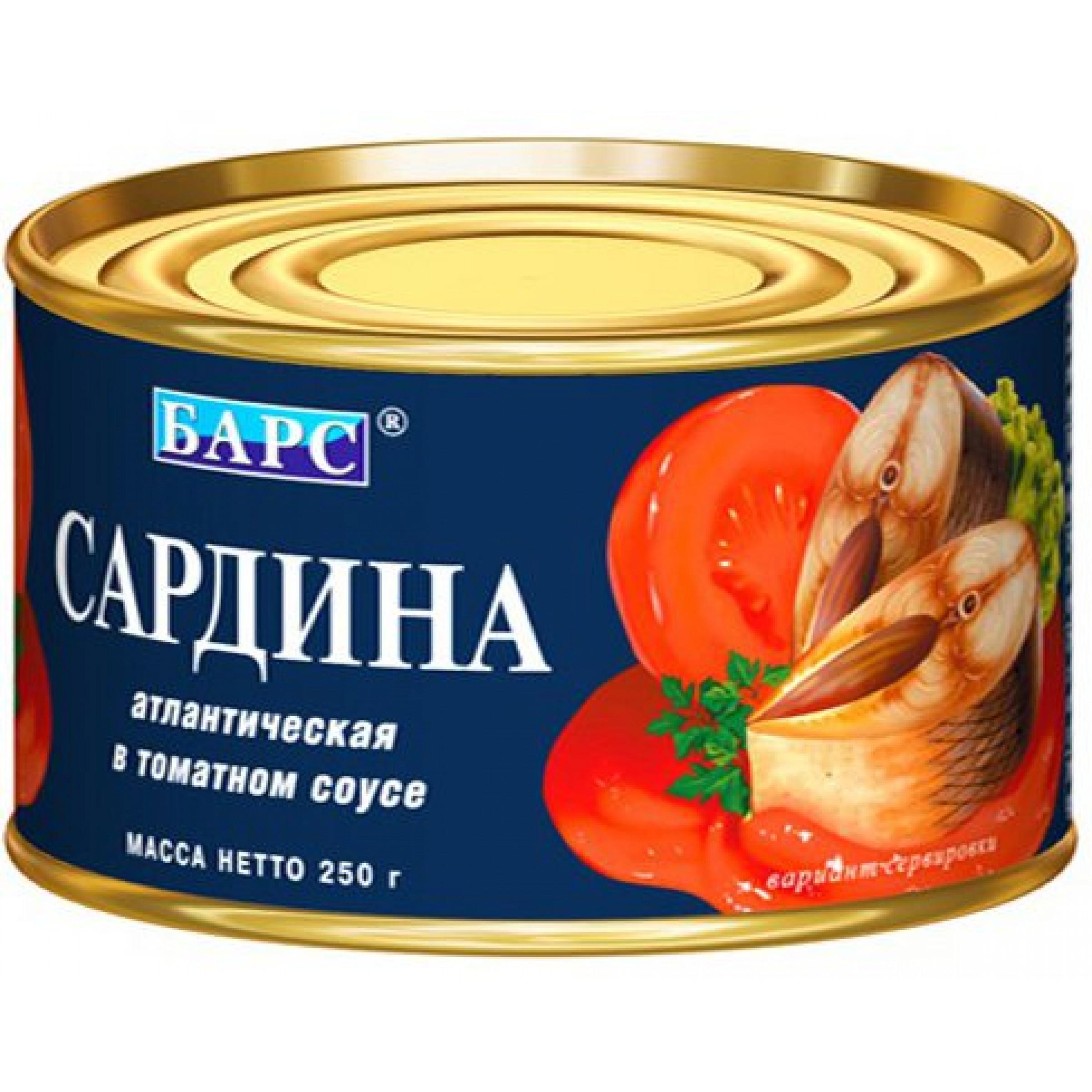 Cардина атлантическая в томатном соусе Барс, 250гр