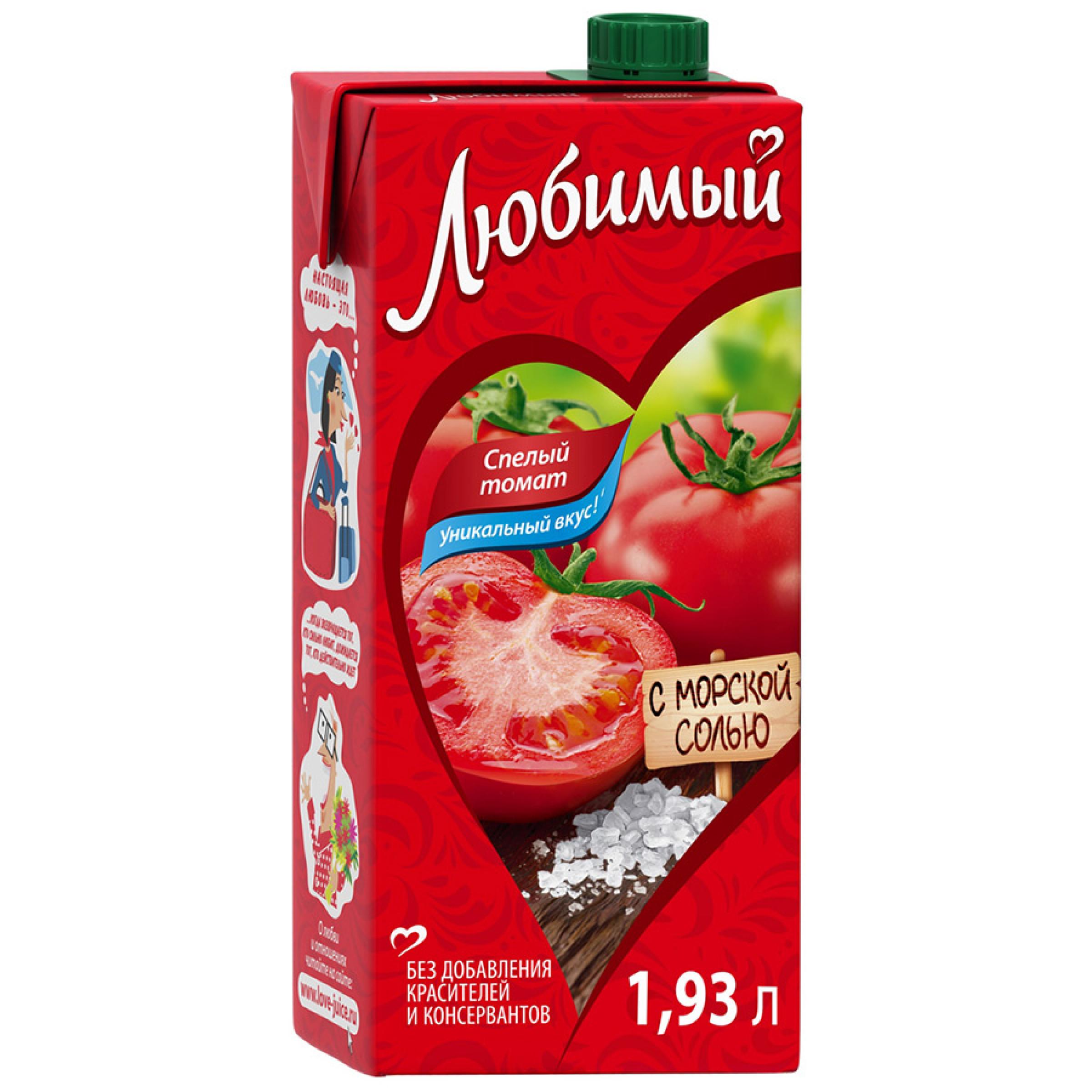Сок Любимый Томат с морской солью, 1,93л