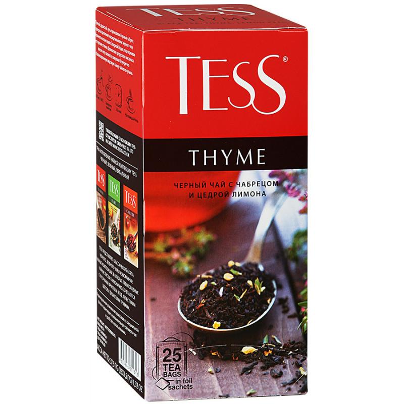 """Чай черный Tess """"Тайм"""" с ароматом чабреца и лимона в пакетиках, 25пак*1, 5гр"""