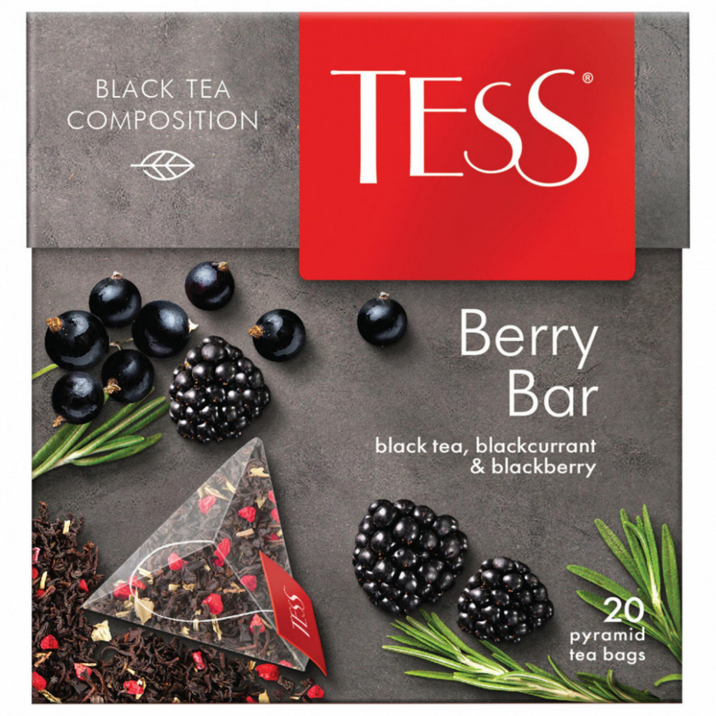 """Чай черный Tess """"Берри Бар"""" с ароматом малины и мяты в пирамидках, 20пак*1,8гр"""