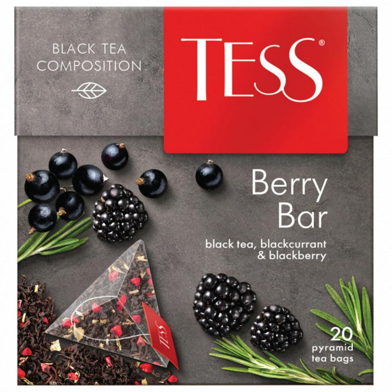 """Чай черный Tess """"Берри Бар"""" с ароматом малины и мяты в пирамидках, 20пак*1, 8гр"""
