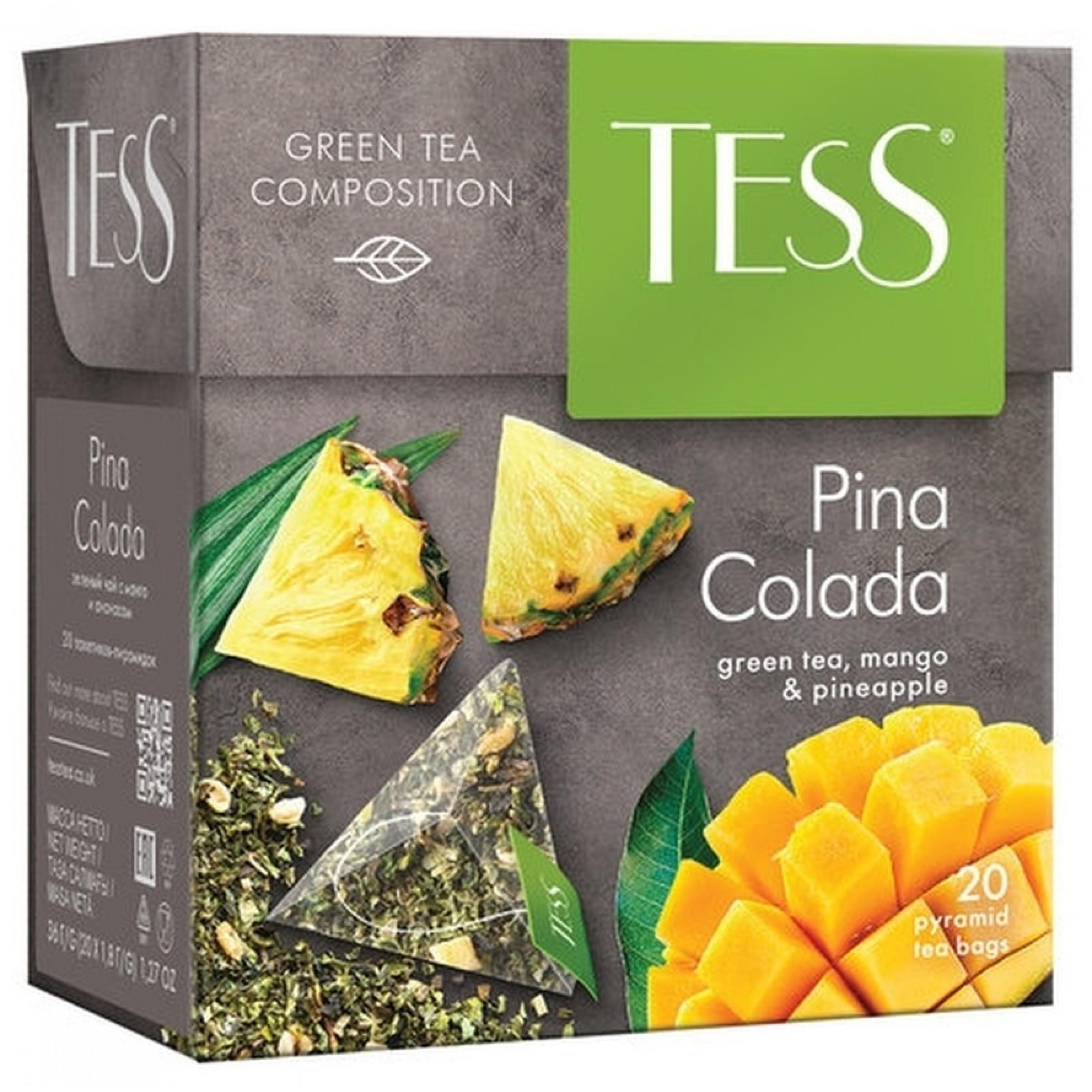 """Чай зеленый Tess """"Пина Колада"""" с ароматом манго и ананаса, пирамидки, 20пак*1, 8гр"""