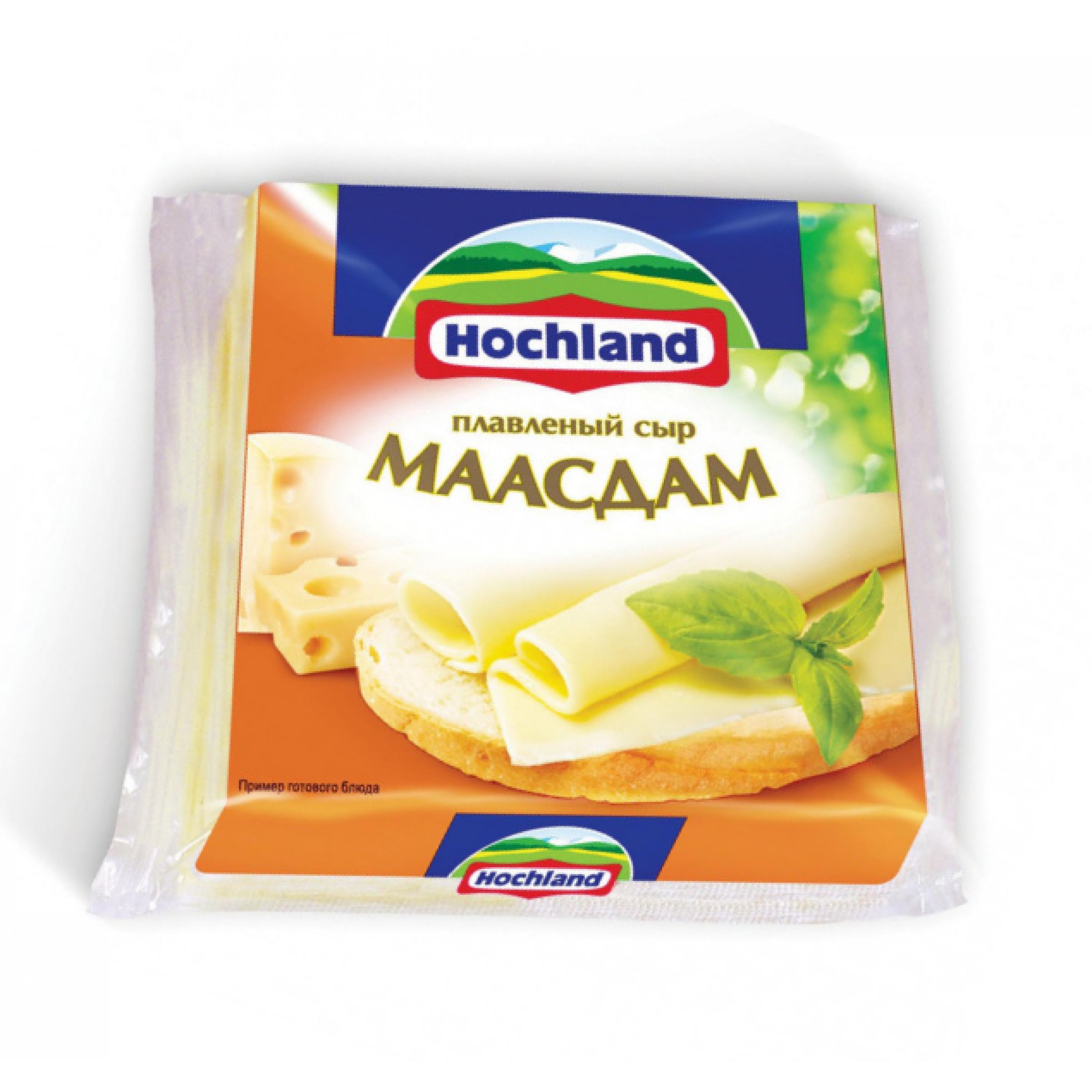 """Сыр """"Hochland"""" 45% плавленый ломтики Маасдам, 150гр."""