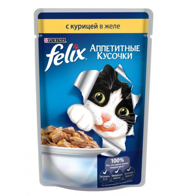 Влажный корм для кошек FELIX кусочки в желе курица, 85 гр