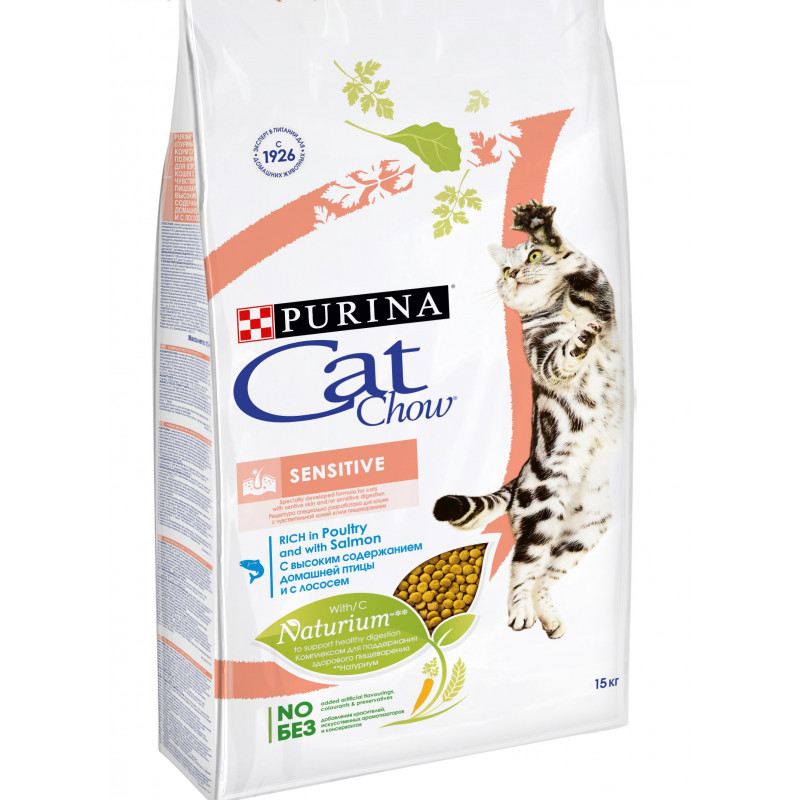 Сухой корм для кошек с чувствительным пищеварением CAT CHOW лосось