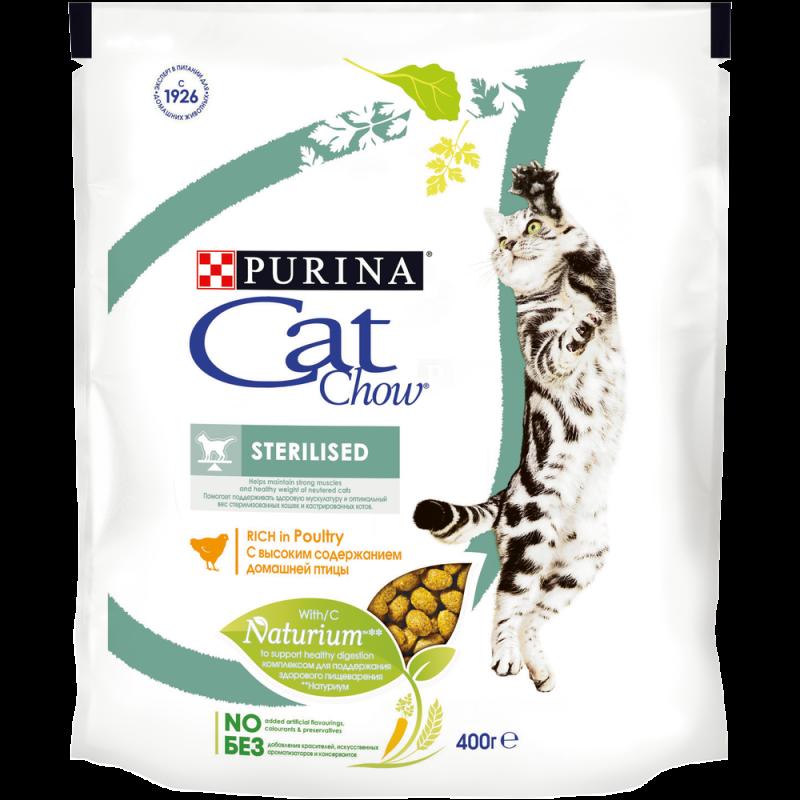 Сухой корм для стерилизованных кошек и кастрированных котов CAT CHOW STERILISED Meat, 400 гр