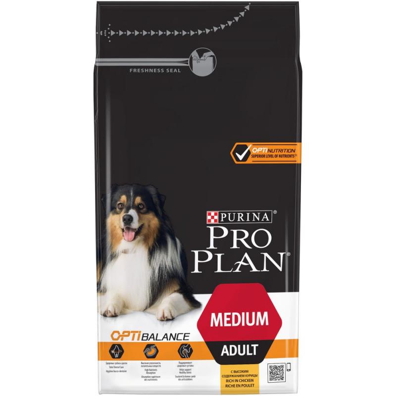 Сухой корм для взрослых собак средних пород PRO PLAN с курицей