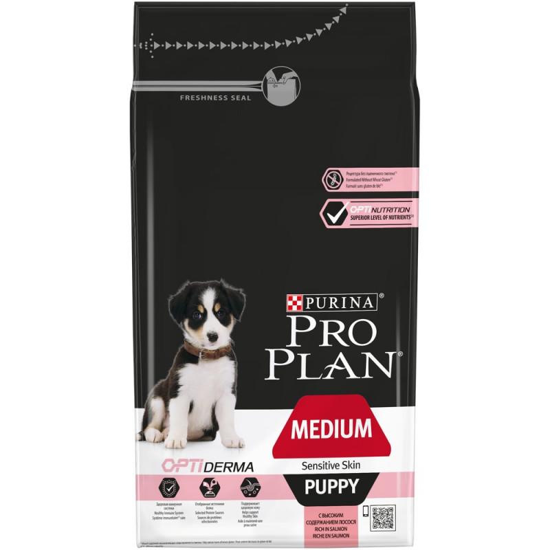 Сухой корм Pro Plan® для щенков средних пород с чувствительной кожей, с лососем, 1. 5 кг