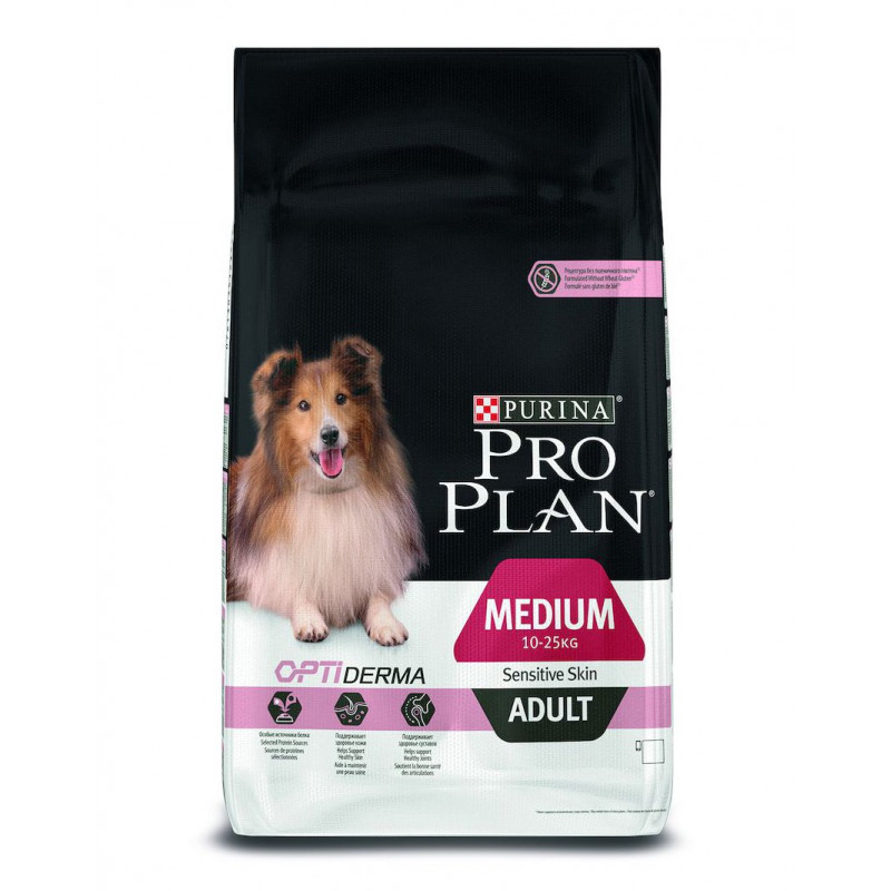 Сухой корм для взрослых собак средних пород с чувствительным пищеварением PRO PLAN с ягненком и рисом