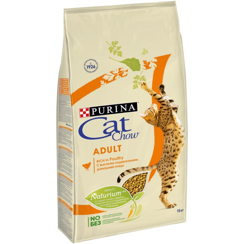 Сухой корм для взрослых кошек CAT CHOW птица