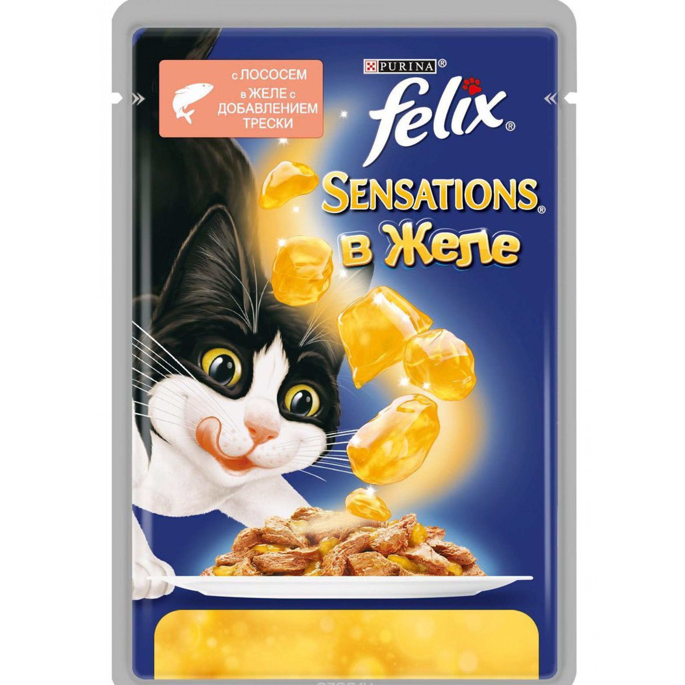 Влажный корм для взрослых кошек FELIX Sensations с лососем в желе со вкусом трески, 85 гр