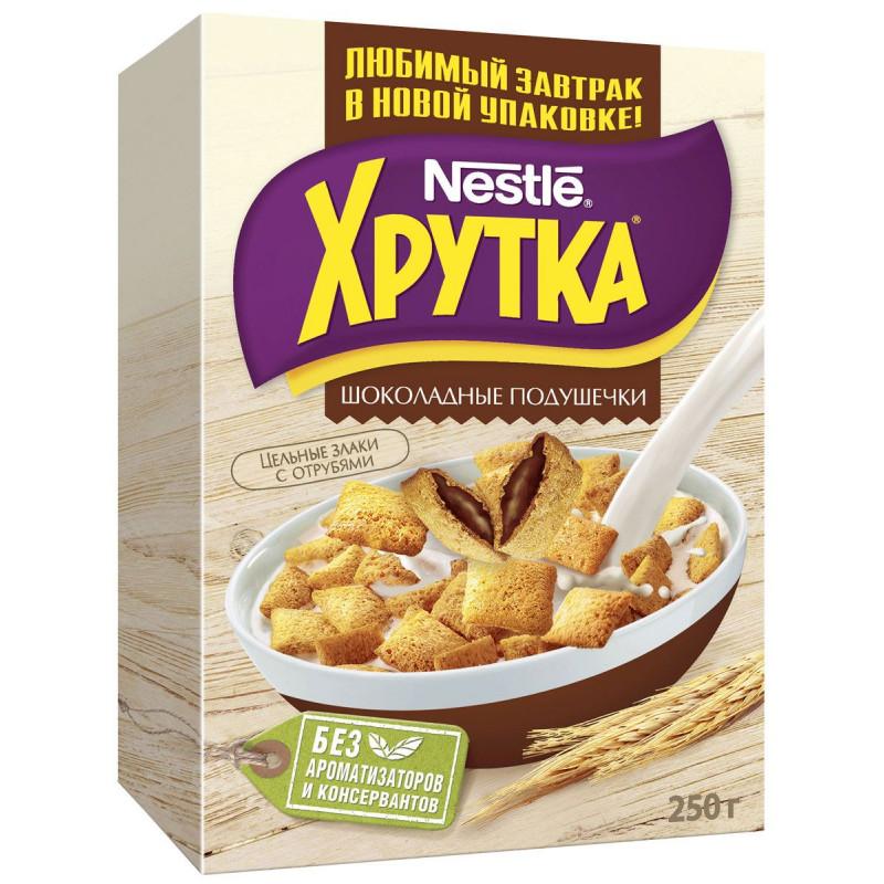 "Готовый завтрак шоколадные подушечки Хрутка ""Nestle"", 250гр"