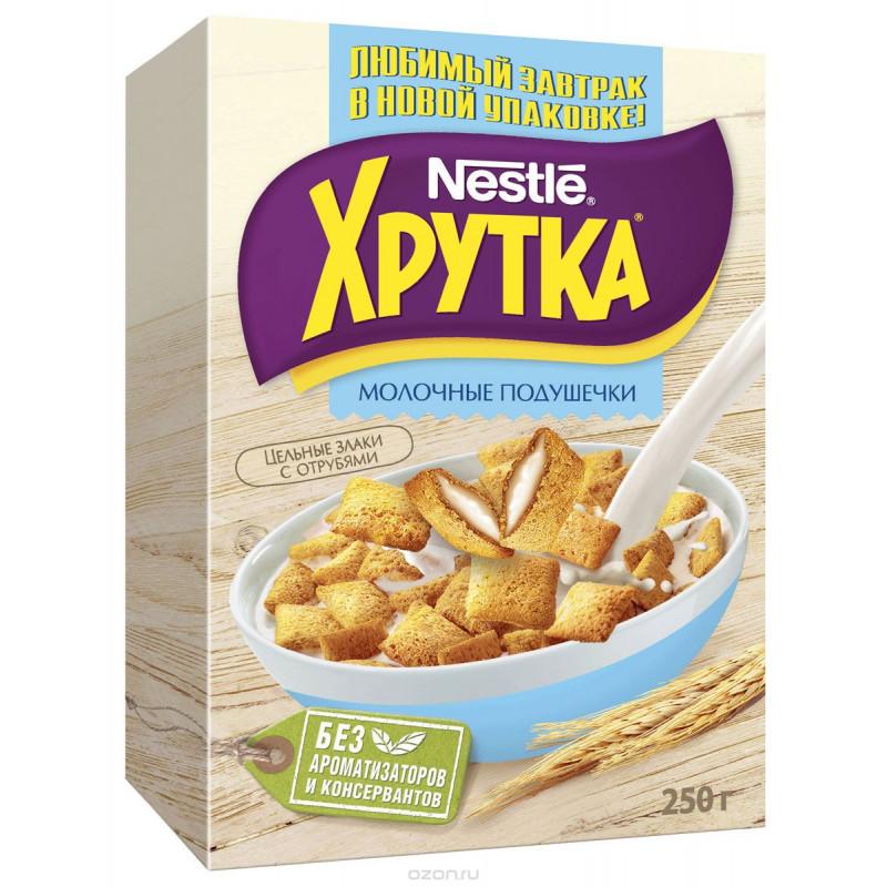 "Готовый завтрак молочные подушечки Хрутка ""Nestle"", 250гр"
