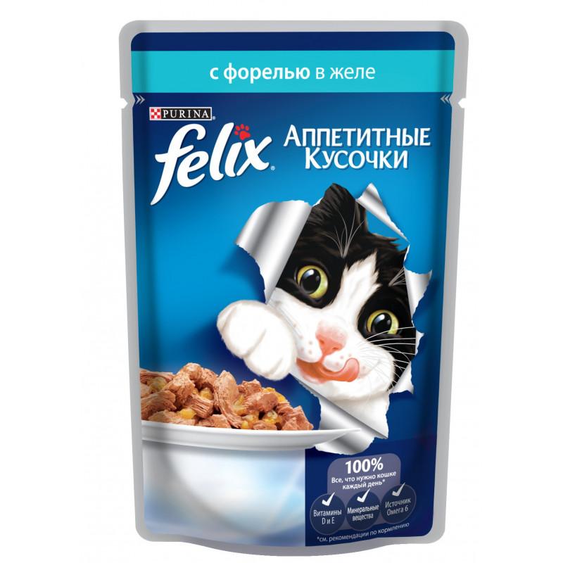 Влажный корм для кошек FELIX кусочки в желе Форель, 85 гр